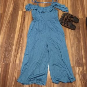 Teal off shoulder square leg jumpsuit